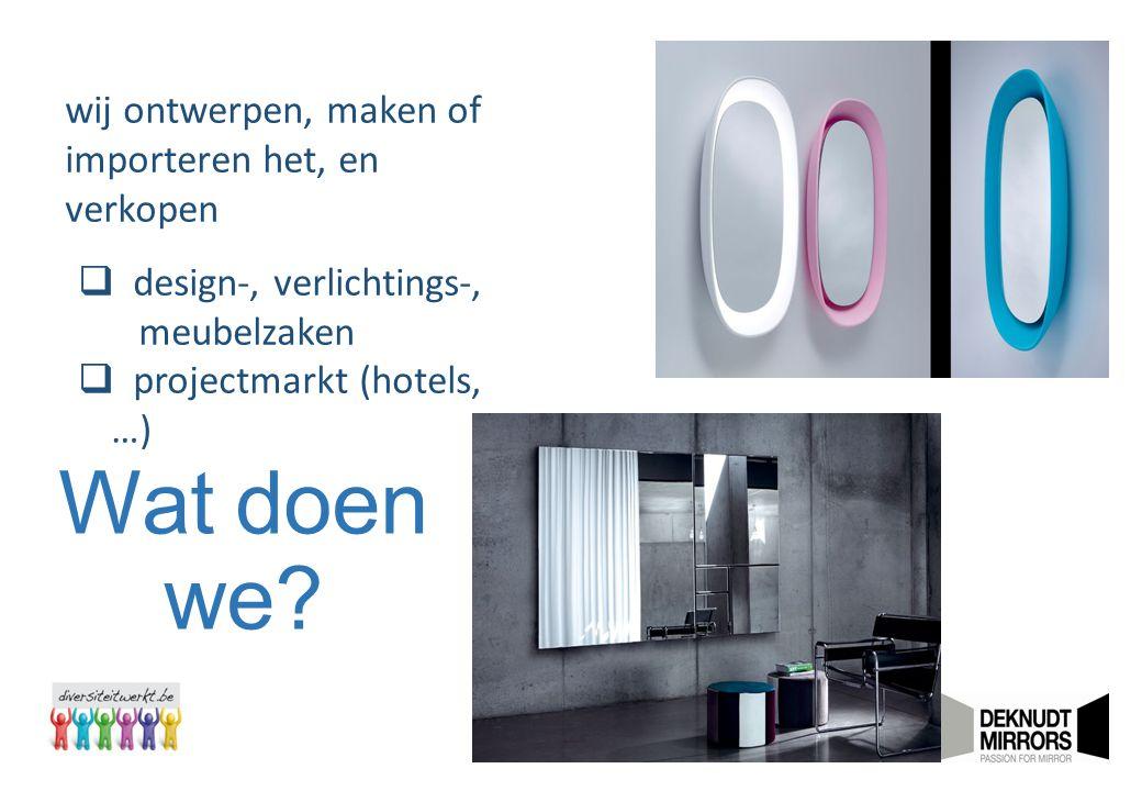 Wat doen we? wij ontwerpen, maken of importeren het, en verkopen  design-, verlichtings-, meubelzaken  projectmarkt (hotels, …)