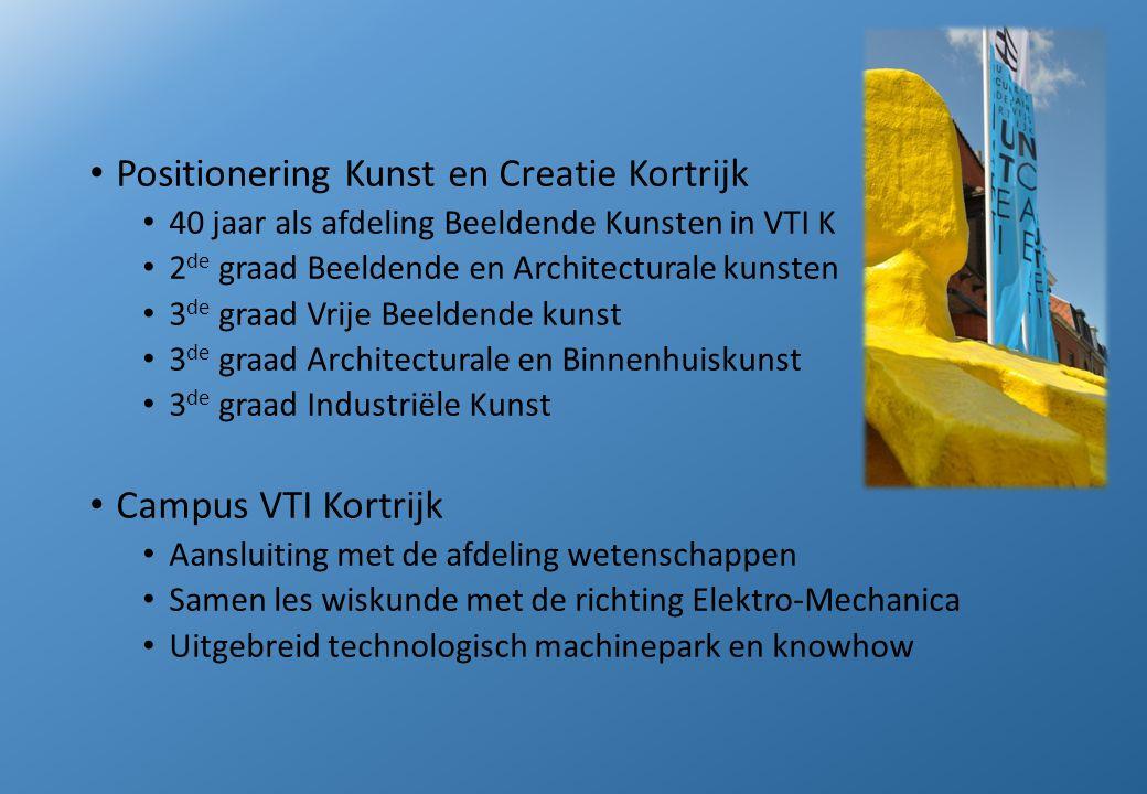 Positionering Kunst en Creatie Kortrijk 40 jaar als afdeling Beeldende Kunsten in VTI K 2 de graad Beeldende en Architecturale kunsten 3 de graad Vrij