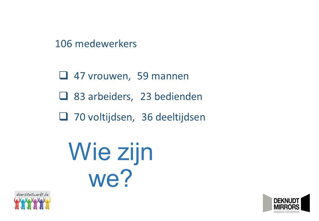 Wie zijn we? 106 medewerkers  47 vrouwen, 59 mannen  83 arbeiders, 23 bedienden  70 voltijdsen, 36 deeltijdsen
