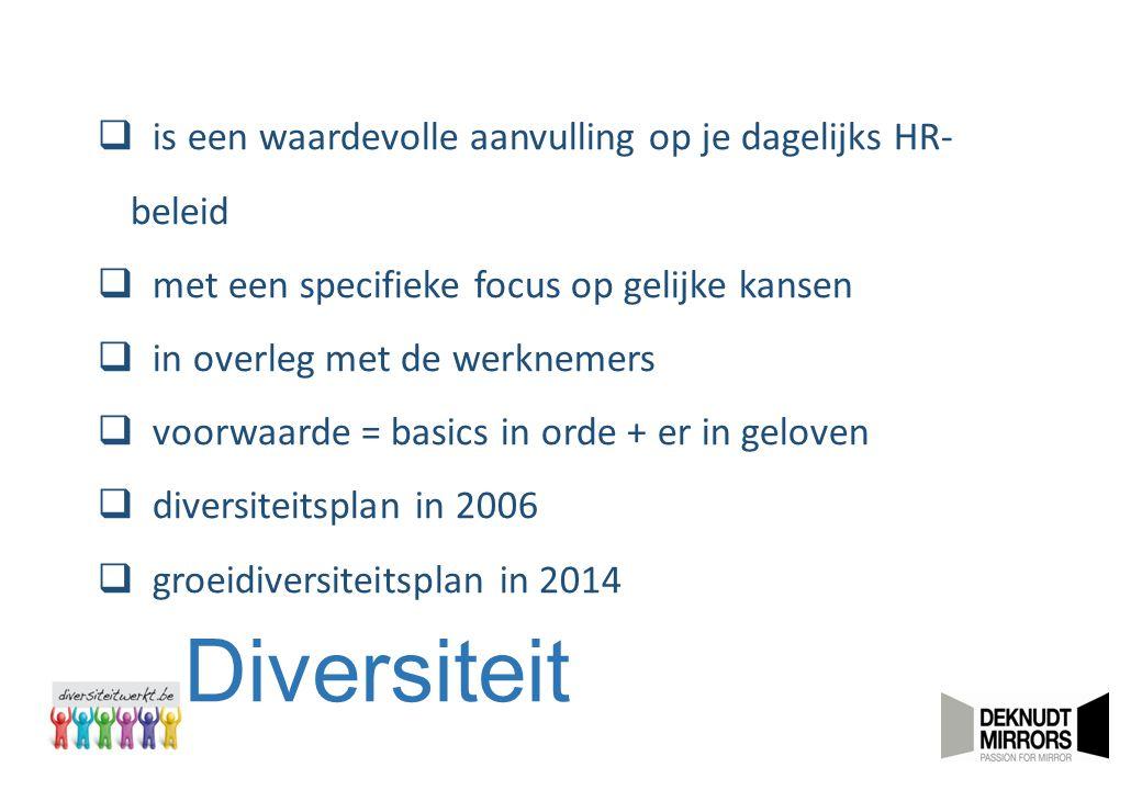 Diversiteit  is een waardevolle aanvulling op je dagelijks HR- beleid  met een specifieke focus op gelijke kansen  in overleg met de werknemers  v