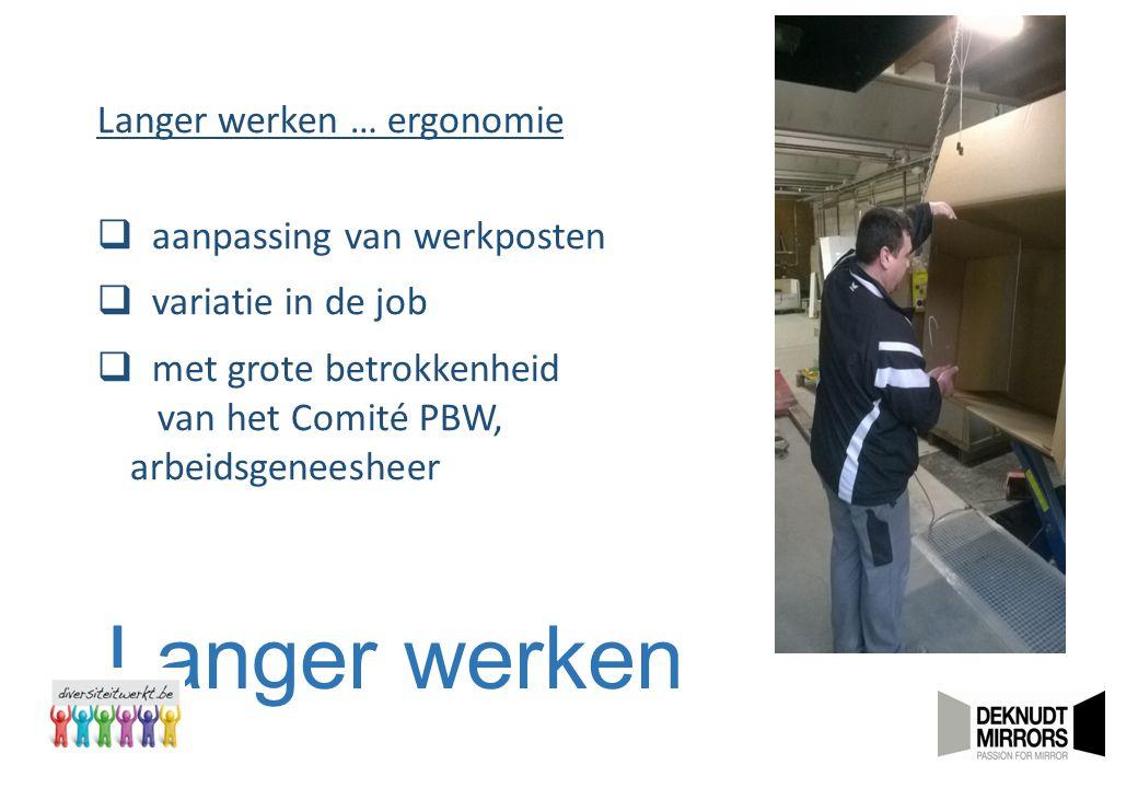 Langer werken Langer werken … ergonomie  aanpassing van werkposten  variatie in de job  met grote betrokkenheid van het Comité PBW, arbeidsgeneeshe