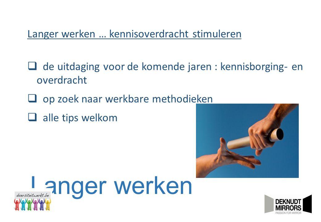 Langer werken Langer werken … kennisoverdracht stimuleren  de uitdaging voor de komende jaren : kennisborging- en overdracht  op zoek naar werkbare