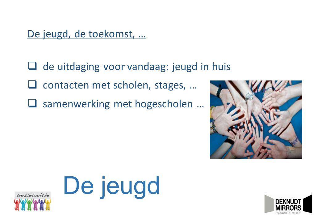 De jeugd De jeugd, de toekomst, …  de uitdaging voor vandaag: jeugd in huis  contacten met scholen, stages, …  samenwerking met hogescholen …