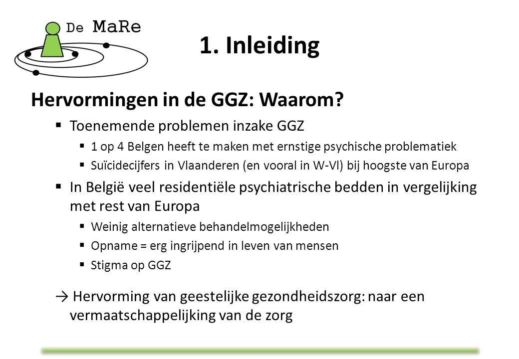 1. Inleiding Hervormingen in de GGZ: Waarom?  Toenemende problemen inzake GGZ  1 op 4 Belgen heeft te maken met ernstige psychische problematiek  S