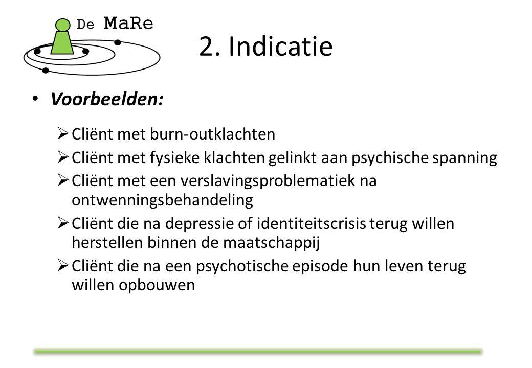 2. Indicatie Voorbeelden:  Cliënt met burn-outklachten  Cliënt met fysieke klachten gelinkt aan psychische spanning  Cliënt met een verslavingsprob