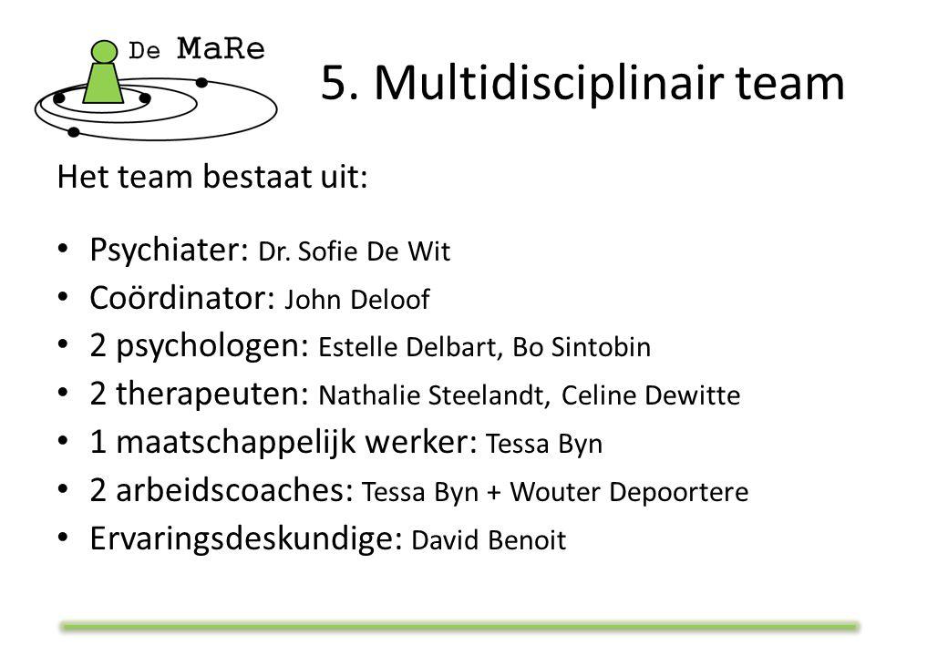 5. Multidisciplinair team Het team bestaat uit: Psychiater: Dr. Sofie De Wit Coördinator: John Deloof 2 psychologen: Estelle Delbart, Bo Sintobin 2 th