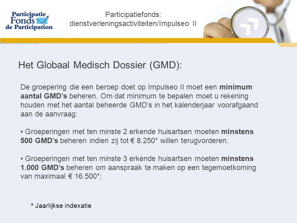 Het Globaal Medisch Dossier (GMD): De groepering die een beroep doet op Impulseo II moet een minimum aantal GMD's beheren.