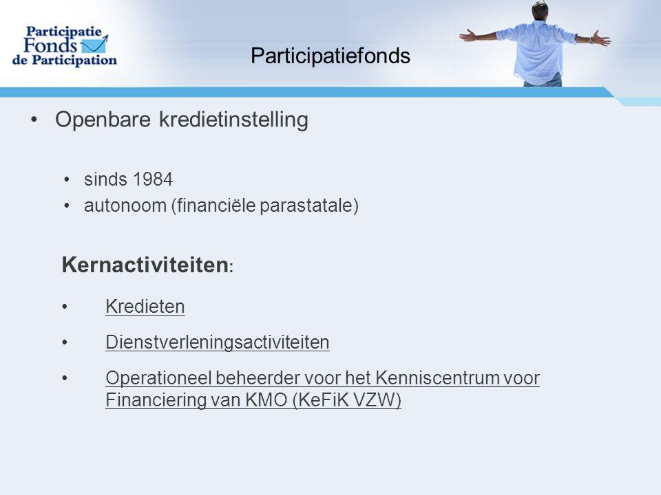 Kernactiviteiten : Kredieten Dienstverleningsactiviteiten Operationeel beheerder voor het Kenniscentrum voor Financiering van KMO (KeFiK VZW) Participatiefonds Openbare kredietinstelling sinds 1984 autonoom (financiële parastatale)