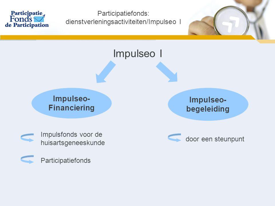 Impulseo I Impulseo- Financiering Impulseo- begeleiding Impulsfonds voor de huisartsgeneeskunde Participatiefonds door een steunpunt Participatiefonds: dienstverleningsactiviteiten/Impulseo I
