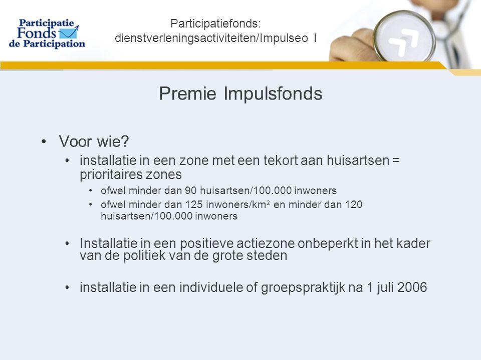 kenmerken € 20.000 verworven na 5 jaar als de praktijk zich nog in de prioritaire zone bevindt cumuleerbaar met een lening van het Impulsfonds of het Participatiefonds Participatiefonds: dienstverleningsactiviteiten/Impulseo I