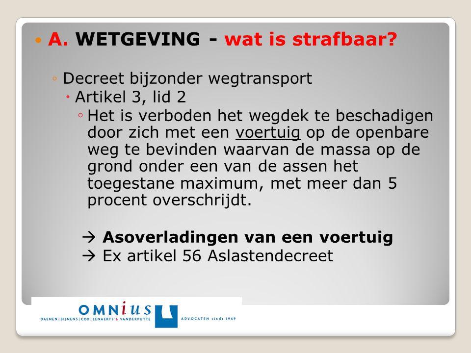 A. WETGEVING - wat is strafbaar? ◦Decreet bijzonder wegtransport  Artikel 3, lid 2 ◦ Het is verboden het wegdek te beschadigen door zich met een voer