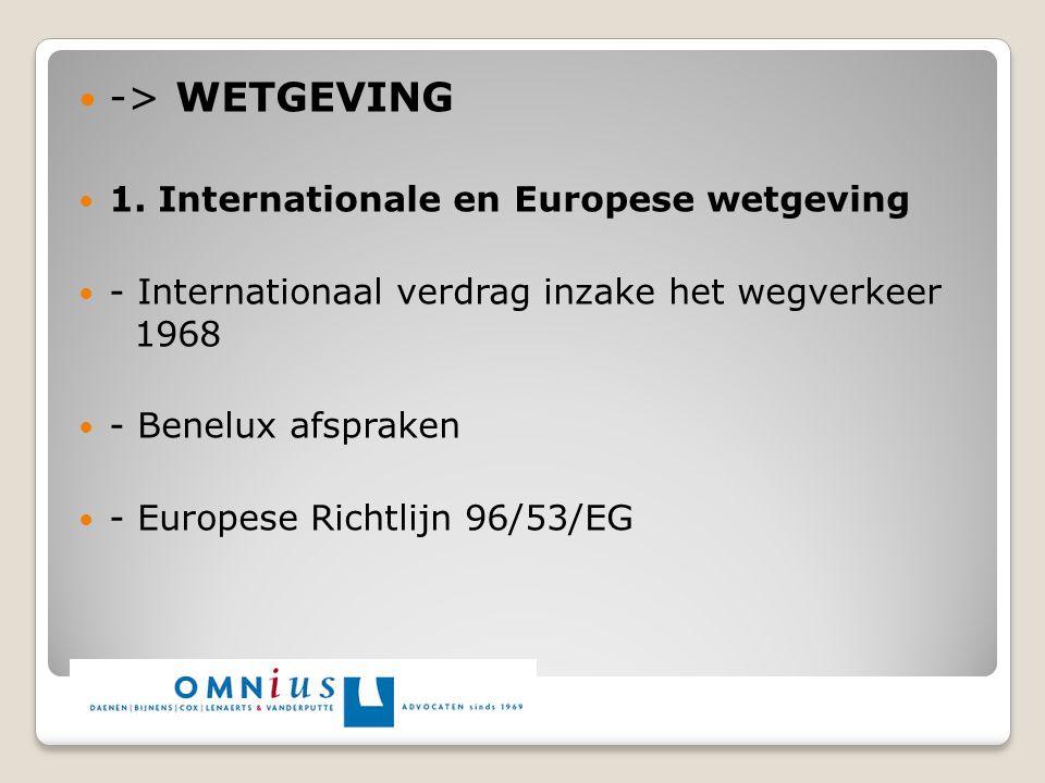 -> WETGEVING 1. Internationale en Europese wetgeving - Internationaal verdrag inzake het wegverkeer 1968 - Benelux afspraken - Europese Richtlijn 96/5