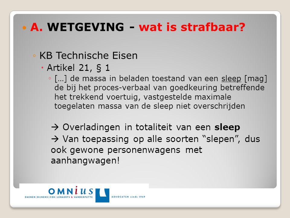 A. WETGEVING - wat is strafbaar? ◦KB Technische Eisen  Artikel 21, § 1 ◦ […] de massa in beladen toestand van een sleep [mag] de bij het proces-verba