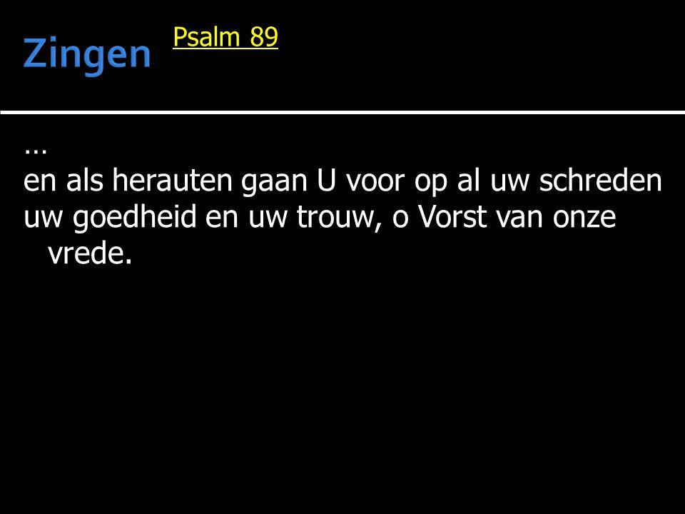 … en als herauten gaan U voor op al uw schreden uw goedheid en uw trouw, o Vorst van onze vrede. Psalm 89