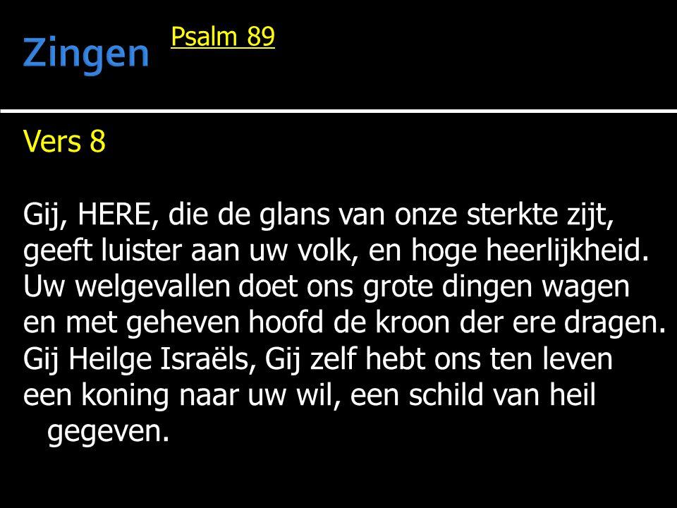 Vers 8 Gij, HERE, die de glans van onze sterkte zijt, geeft luister aan uw volk, en hoge heerlijkheid. Uw welgevallen doet ons grote dingen wagen en m