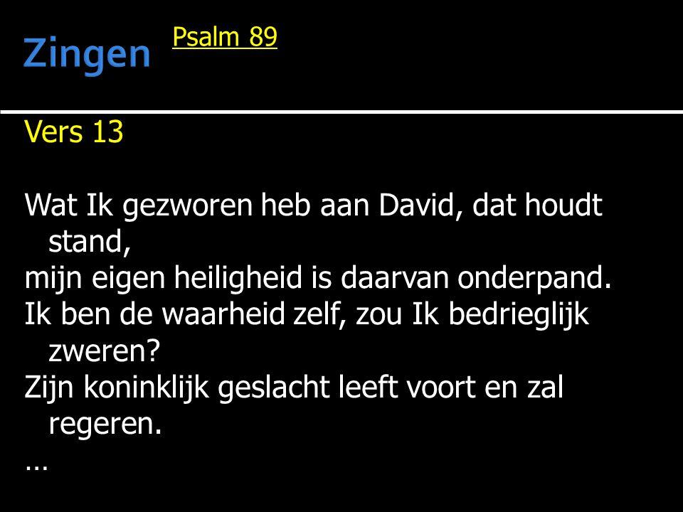 Vers 13 Wat Ik gezworen heb aan David, dat houdt stand, mijn eigen heiligheid is daarvan onderpand. Ik ben de waarheid zelf, zou Ik bedrieglijk zweren