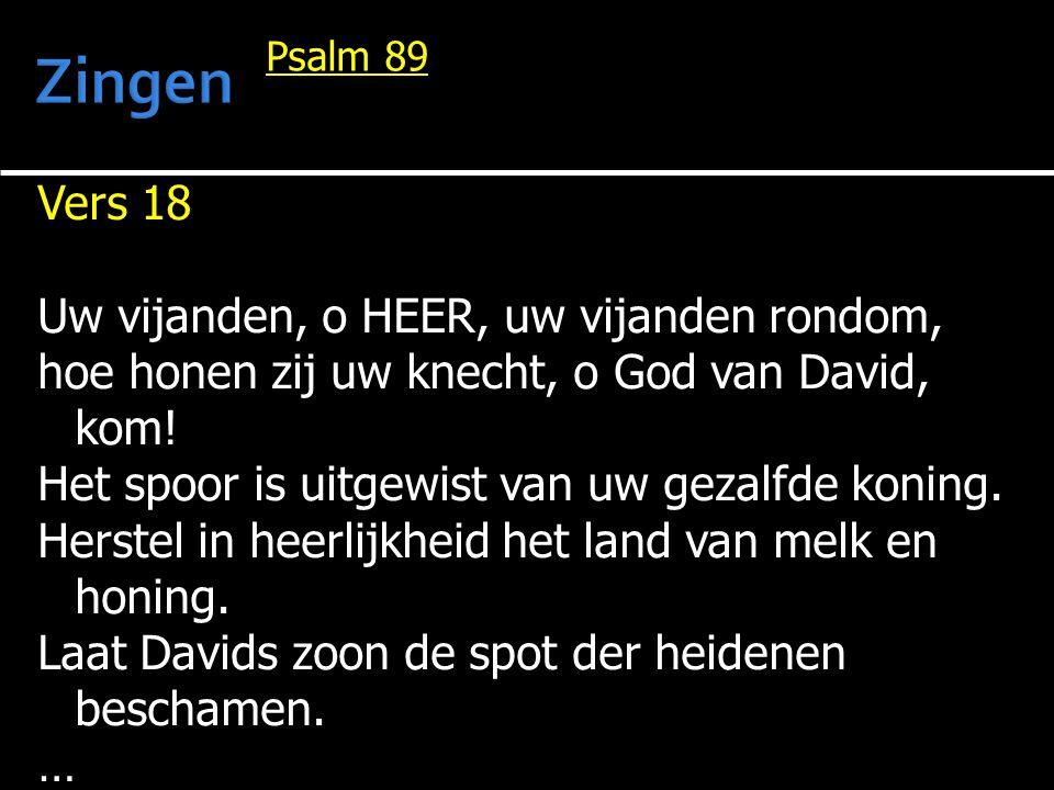 Vers 18 Uw vijanden, o HEER, uw vijanden rondom, hoe honen zij uw knecht, o God van David, kom! Het spoor is uitgewist van uw gezalfde koning. Herstel