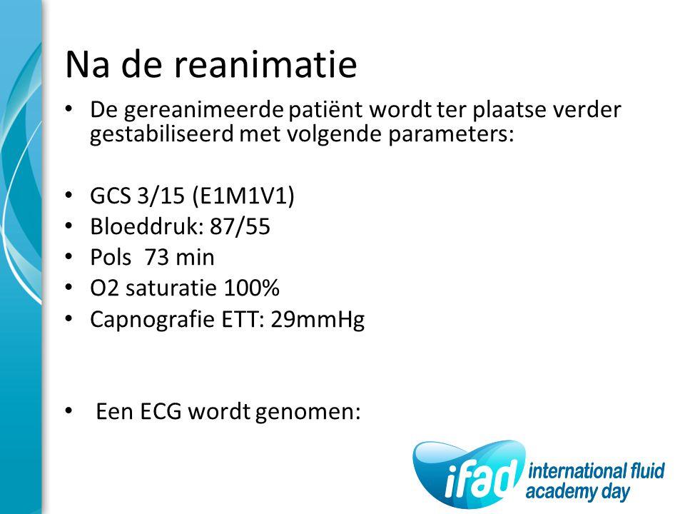 Na de reanimatie De gereanimeerde patiënt wordt ter plaatse verder gestabiliseerd met volgende parameters: GCS 3/15 (E1M1V1) Bloeddruk: 87/55 Pols 73