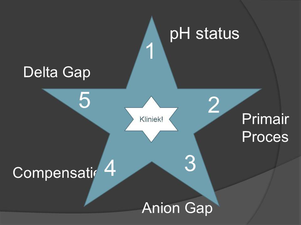 pH status Primair Proces Anion Gap Compensatie Delta Gap 1 2 3 4 5 Kliniek!