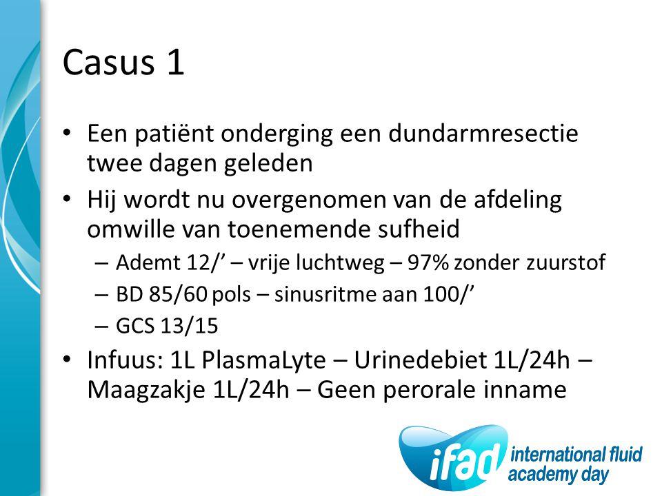 Casus 1 Een patiënt onderging een dundarmresectie twee dagen geleden Hij wordt nu overgenomen van de afdeling omwille van toenemende sufheid – Ademt 1