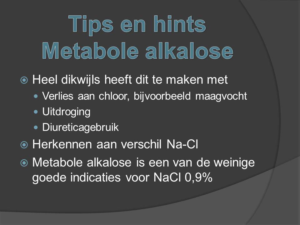  Heel dikwijls heeft dit te maken met Verlies aan chloor, bijvoorbeeld maagvocht Uitdroging Diureticagebruik  Herkennen aan verschil Na-Cl  Metabol