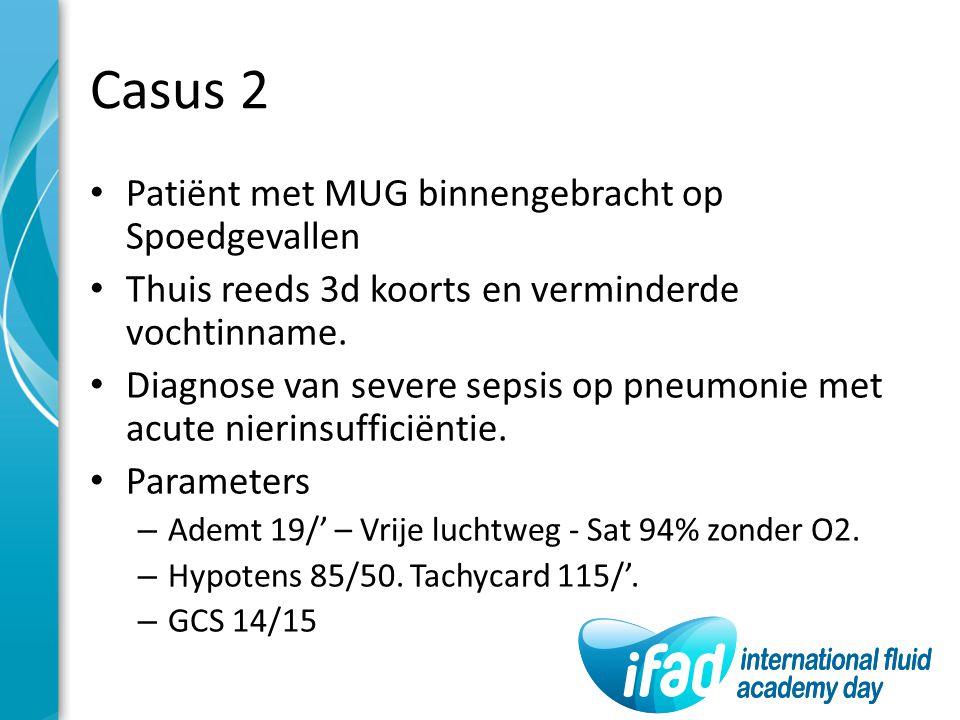 Casus 2 Patiënt met MUG binnengebracht op Spoedgevallen Thuis reeds 3d koorts en verminderde vochtinname. Diagnose van severe sepsis op pneumonie met