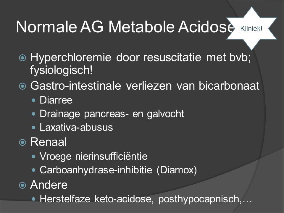 Normale AG Metabole Acidose  Hyperchloremie door resuscitatie met bvb; fysiologisch!  Gastro-intestinale verliezen van bicarbonaat Diarree Drainage