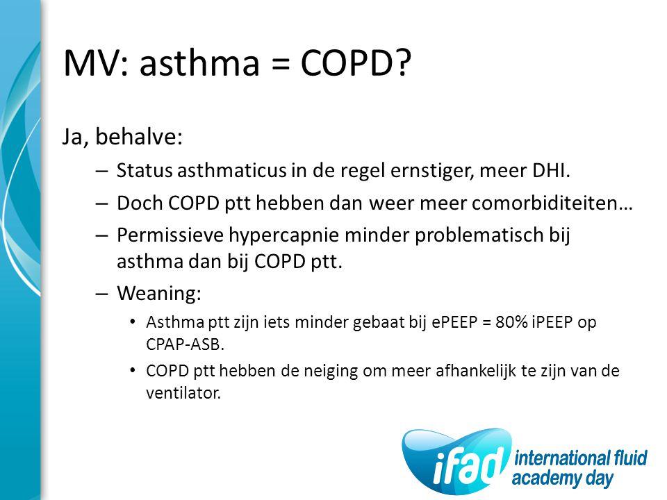 MV: asthma = COPD? Ja, behalve: – Status asthmaticus in de regel ernstiger, meer DHI. – Doch COPD ptt hebben dan weer meer comorbiditeiten… – Permissi