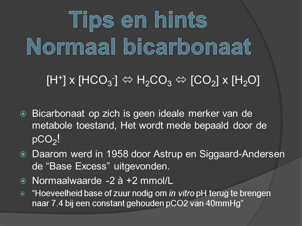 [H + ] x [HCO 3 - ]  H 2 CO 3  [CO 2 ] x [H 2 O]  Bicarbonaat op zich is geen ideale merker van de metabole toestand, Het wordt mede bepaald door d