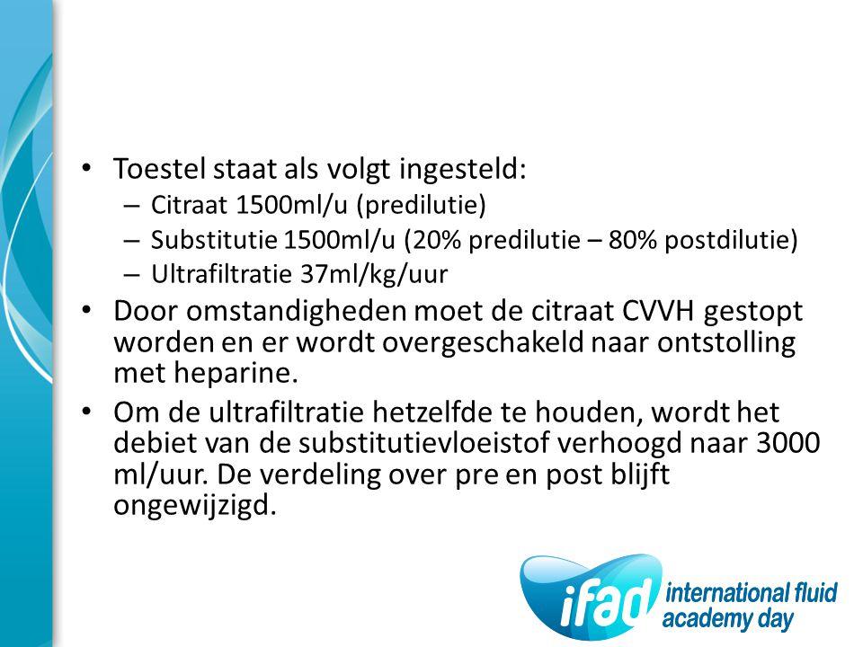 Toestel staat als volgt ingesteld: – Citraat 1500ml/u (predilutie) – Substitutie 1500ml/u (20% predilutie – 80% postdilutie) – Ultrafiltratie 37ml/kg/