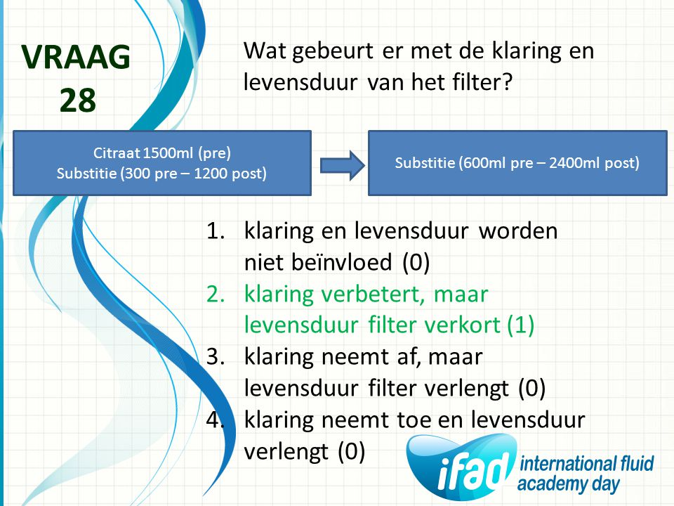 Wat gebeurt er met de klaring en levensduur van het filter? VRAAG 28 1.klaring en levensduur worden niet beïnvloed (0) 2.klaring verbetert, maar leven