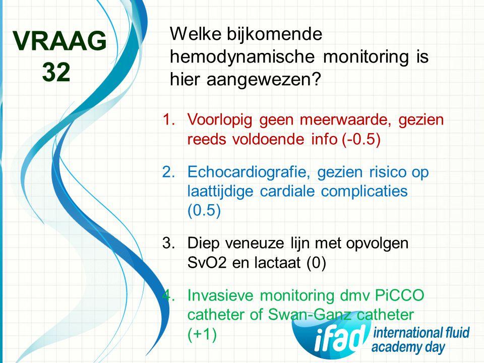 Welke bijkomende hemodynamische monitoring is hier aangewezen? VRAAG 32 1.Voorlopig geen meerwaarde, gezien reeds voldoende info (-0.5) 2.Echocardiogr