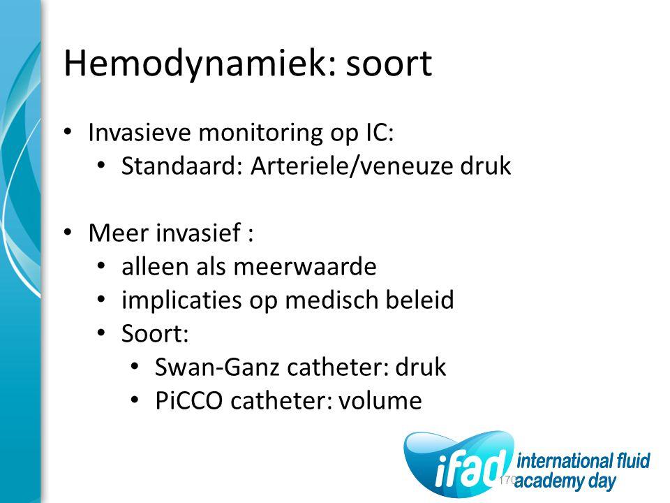 Hemodynamiek: soort Invasieve monitoring op IC: Standaard: Arteriele/veneuze druk Meer invasief : alleen als meerwaarde implicaties op medisch beleid