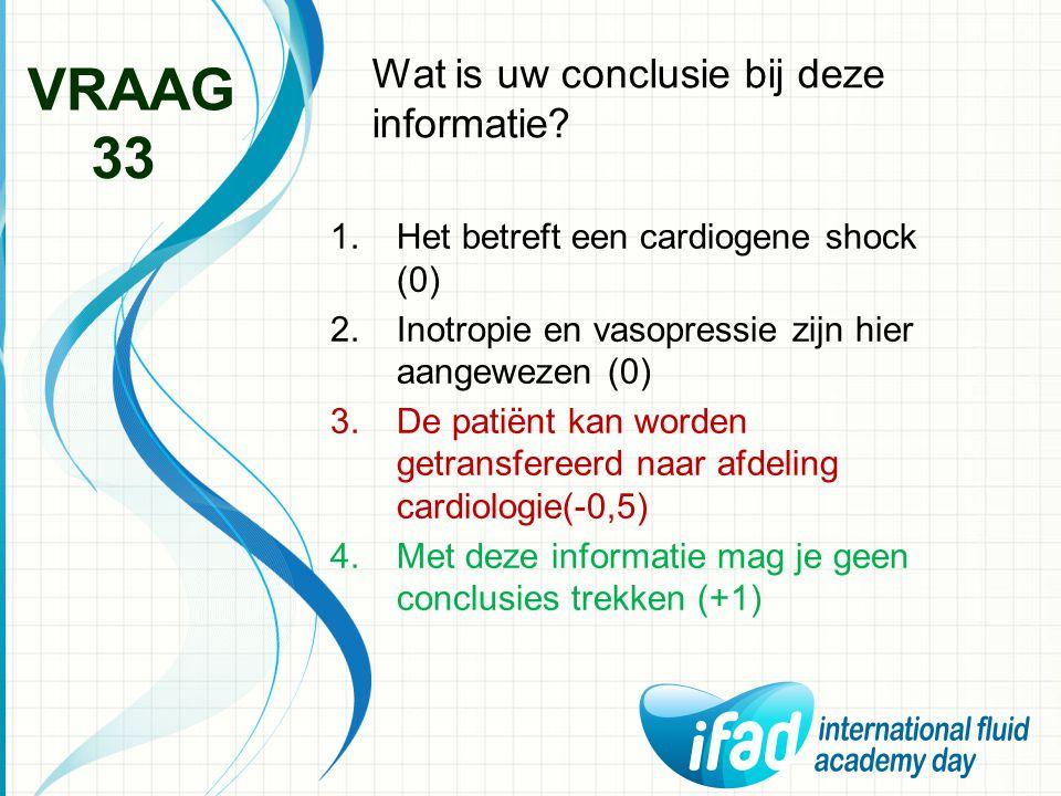 Wat is uw conclusie bij deze informatie? VRAAG 33 1.Het betreft een cardiogene shock (0) 2.Inotropie en vasopressie zijn hier aangewezen (0) 3.De pati