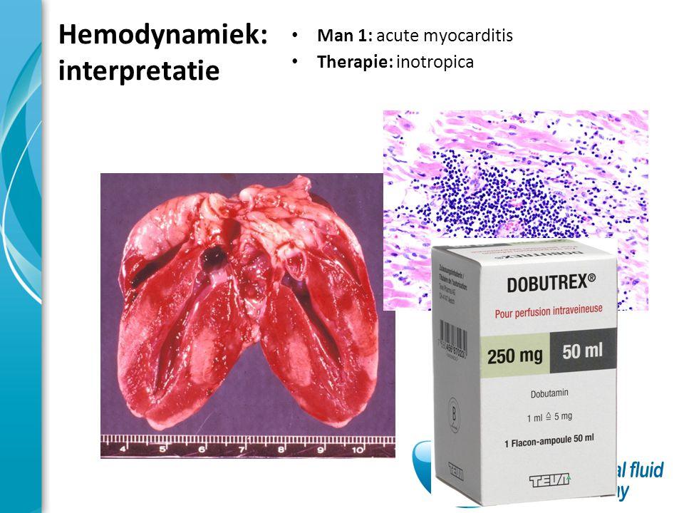 Hemodynamiek: interpretatie Man 1: acute myocarditis Therapie: inotropica 178