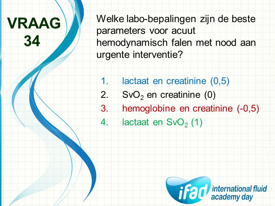 Welke labo-bepalingen zijn de beste parameters voor acuut hemodynamisch falen met nood aan urgente interventie? VRAAG 34 1.lactaat en creatinine (0,5)