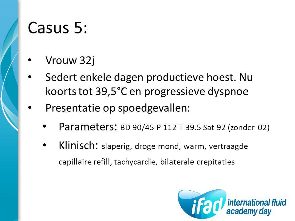 Casus 5: Vrouw 32j Sedert enkele dagen productieve hoest. Nu koorts tot 39,5°C en progressieve dyspnoe Presentatie op spoedgevallen: Parameters : BD 9