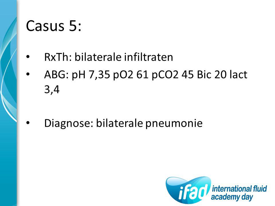 Casus 5: RxTh: bilaterale infiltraten ABG: pH 7,35 pO2 61 pCO2 45 Bic 20 lact 3,4 Diagnose: bilaterale pneumonie