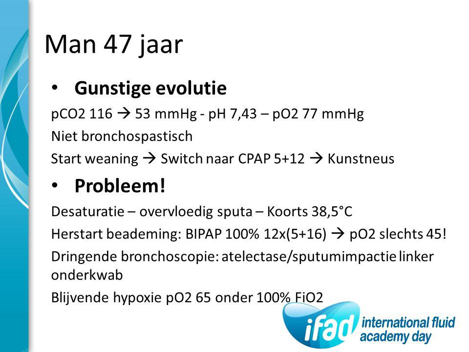 Man 47 jaar Gunstige evolutie pCO2 116  53 mmHg - pH 7,43 – pO2 77 mmHg Niet bronchospastisch Start weaning  Switch naar CPAP 5+12  Kunstneus Probl