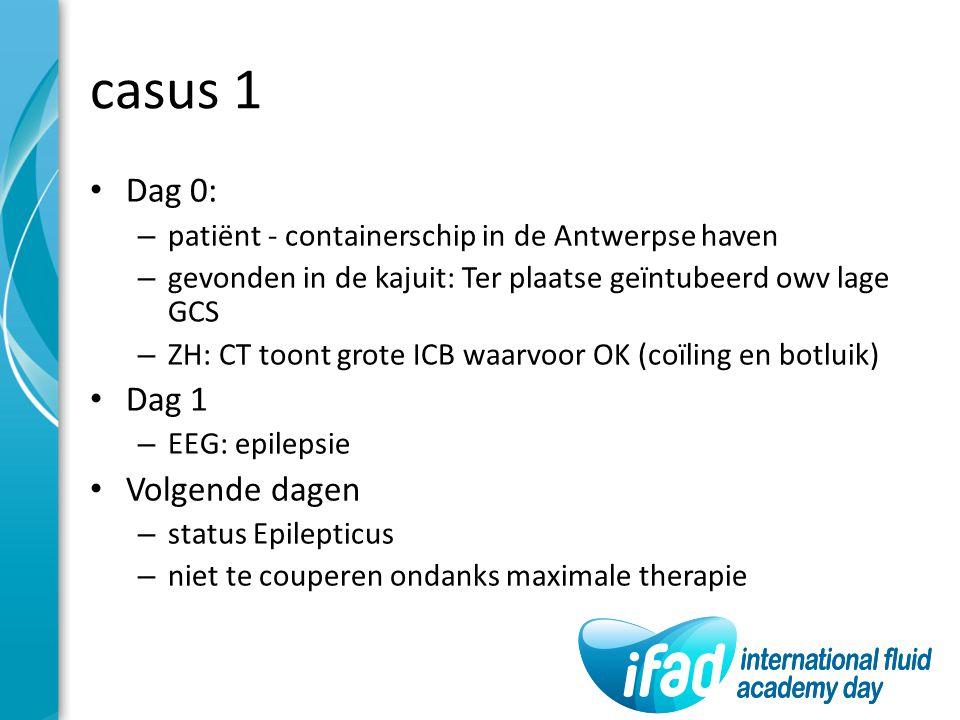 casus 1 Dag 0: – patiënt - containerschip in de Antwerpse haven – gevonden in de kajuit: Ter plaatse geïntubeerd owv lage GCS – ZH: CT toont grote ICB