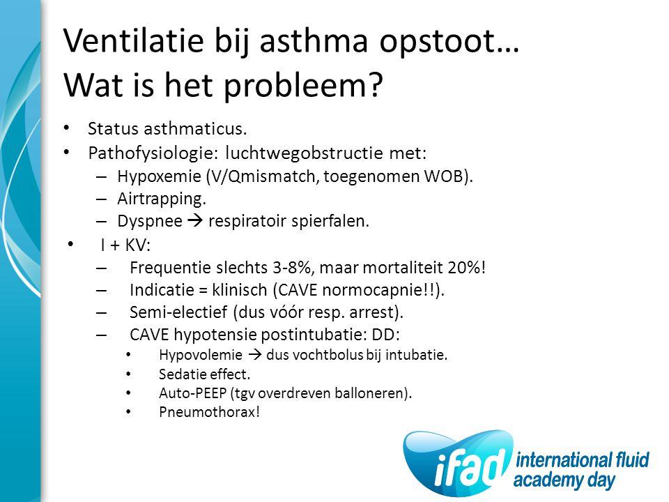 Ventilatie bij asthma opstoot… Wat is het probleem? Status asthmaticus. Pathofysiologie: luchtwegobstructie met: – Hypoxemie (V/Qmismatch, toegenomen
