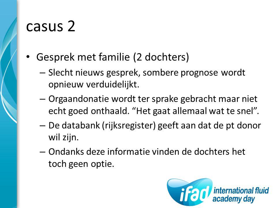 casus 2 Gesprek met familie (2 dochters) – Slecht nieuws gesprek, sombere prognose wordt opnieuw verduidelijkt. – Orgaandonatie wordt ter sprake gebra