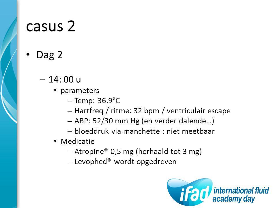 casus 2 Dag 2 – 14: 00 u parameters – Temp: 36,9°C – Hartfreq / ritme: 32 bpm / ventriculair escape – ABP: 52/30 mm Hg (en verder dalende…) – bloeddru