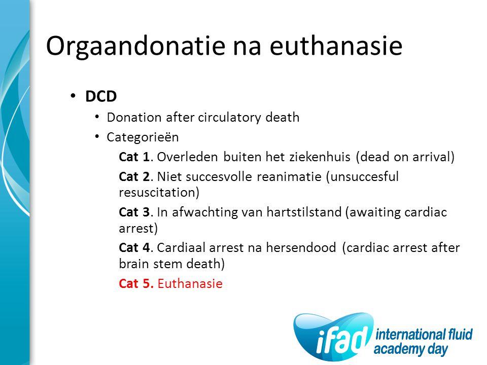 Orgaandonatie na euthanasie DCD Donation after circulatory death Categorieën Cat 1. Overleden buiten het ziekenhuis (dead on arrival) Cat 2. Niet succ