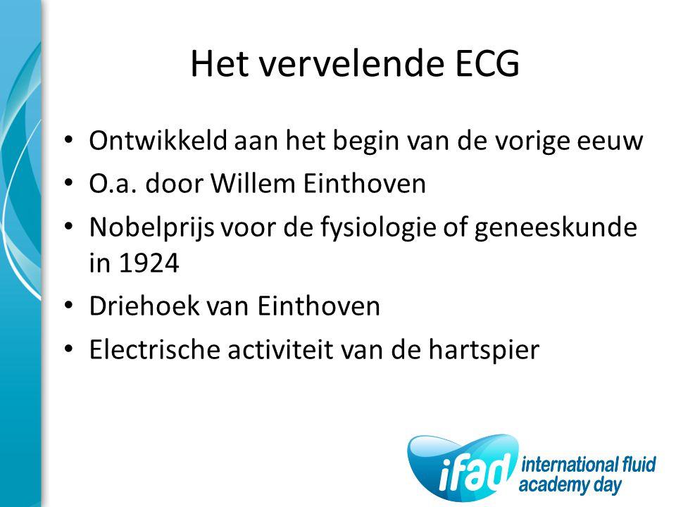 Ontwikkeld aan het begin van de vorige eeuw O.a. door Willem Einthoven Nobelprijs voor de fysiologie of geneeskunde in 1924 Driehoek van Einthoven Ele