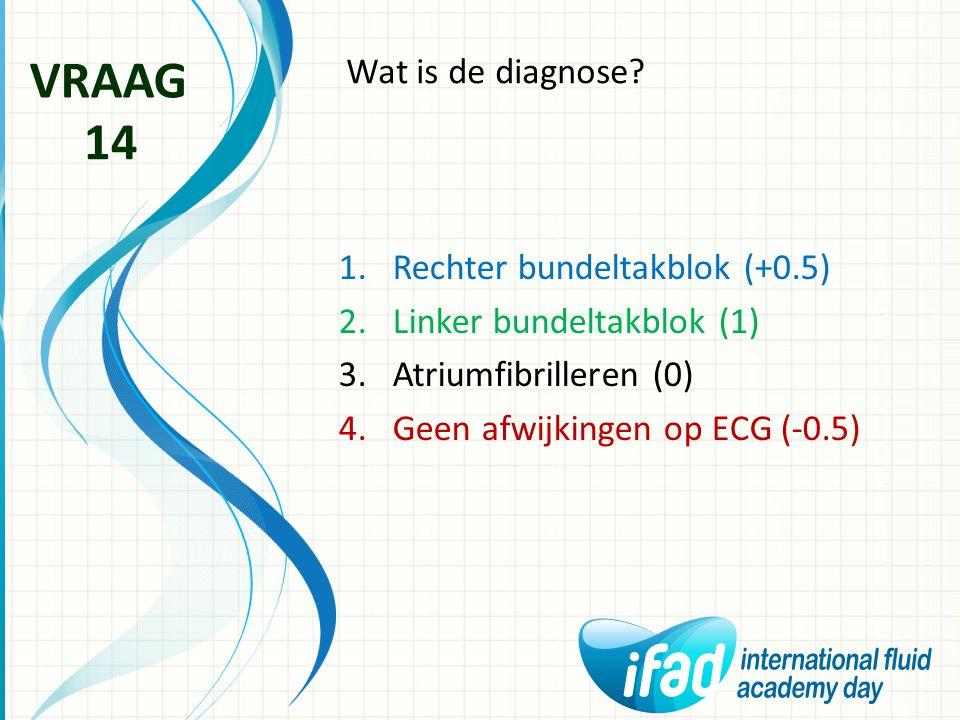 Wat is de diagnose? VRAAG 14 1.Rechter bundeltakblok (+0.5) 2.Linker bundeltakblok (1) 3.Atriumfibrilleren (0) 4.Geen afwijkingen op ECG (-0.5)
