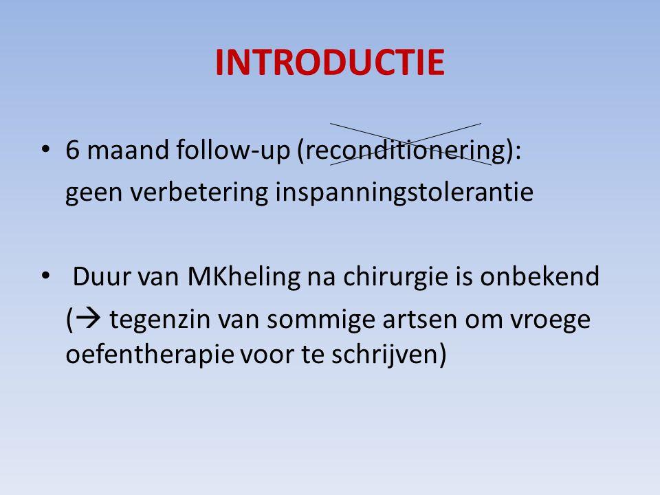 INTRODUCTIE 6 maand follow-up (reconditionering): geen verbetering inspanningstolerantie Duur van MKheling na chirurgie is onbekend (  tegenzin van sommige artsen om vroege oefentherapie voor te schrijven)