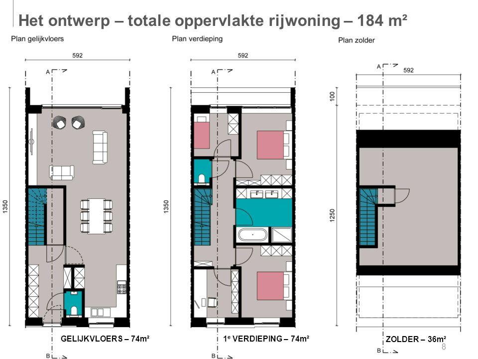 8 GELIJKVLOERS – 74m² 1 e VERDIEPING – 74m² ZOLDER – 36m² Het ontwerp – totale oppervlakte rijwoning – 184 m²
