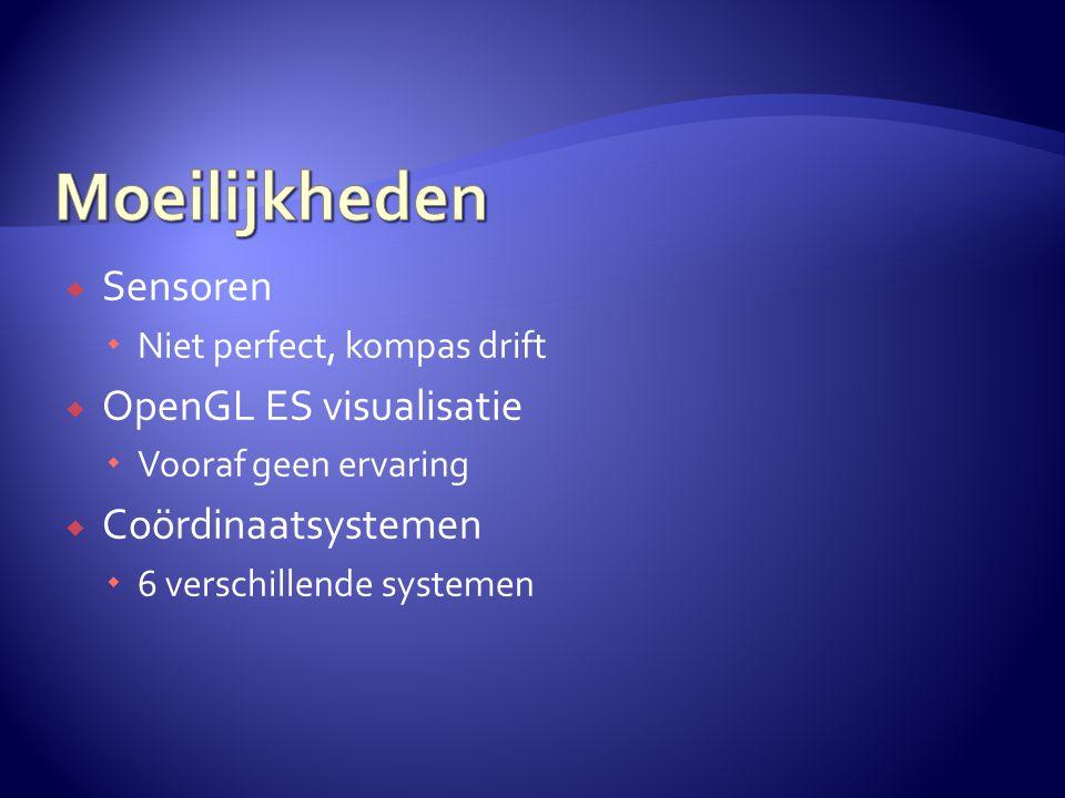  Sensoren  Niet perfect, kompas drift  OpenGL ES visualisatie  Vooraf geen ervaring  Coördinaatsystemen  6 verschillende systemen