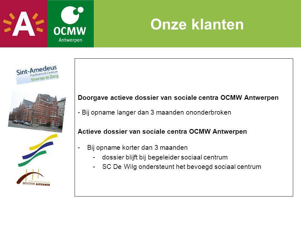 Doorgave actieve dossier van sociale centra OCMW Antwerpen - Bij opname langer dan 3 maanden ononderbroken Actieve dossier van sociale centra OCMW Ant